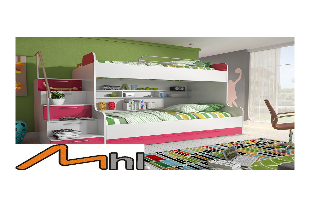 PARADISE 2 - łóżko piętrowe różowy połysk